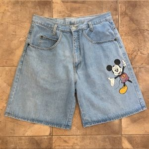 VTG High Rise Mickey Mouse Denim Shorts Light L